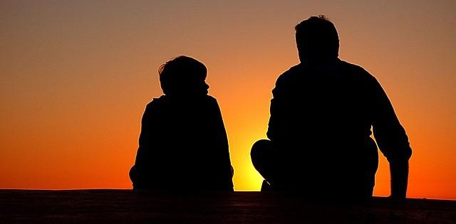 общение на закате с папой